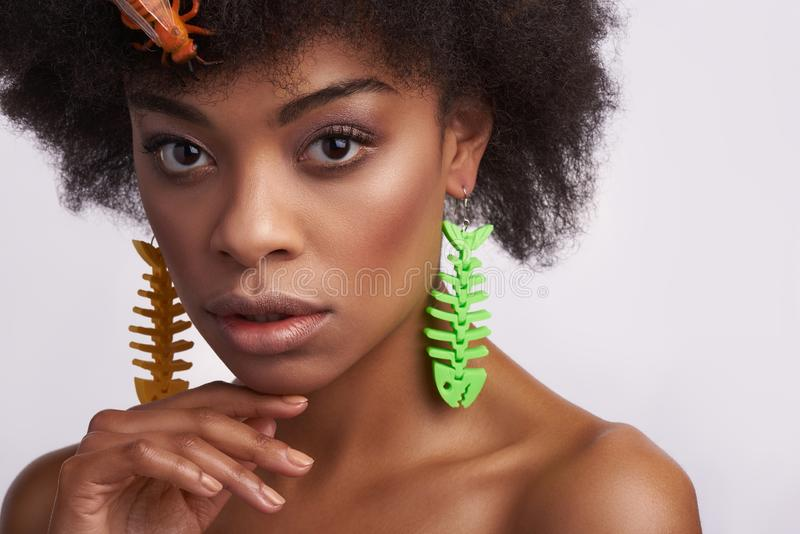 Portrait of pretty ethnic lady with odd earrings stock images