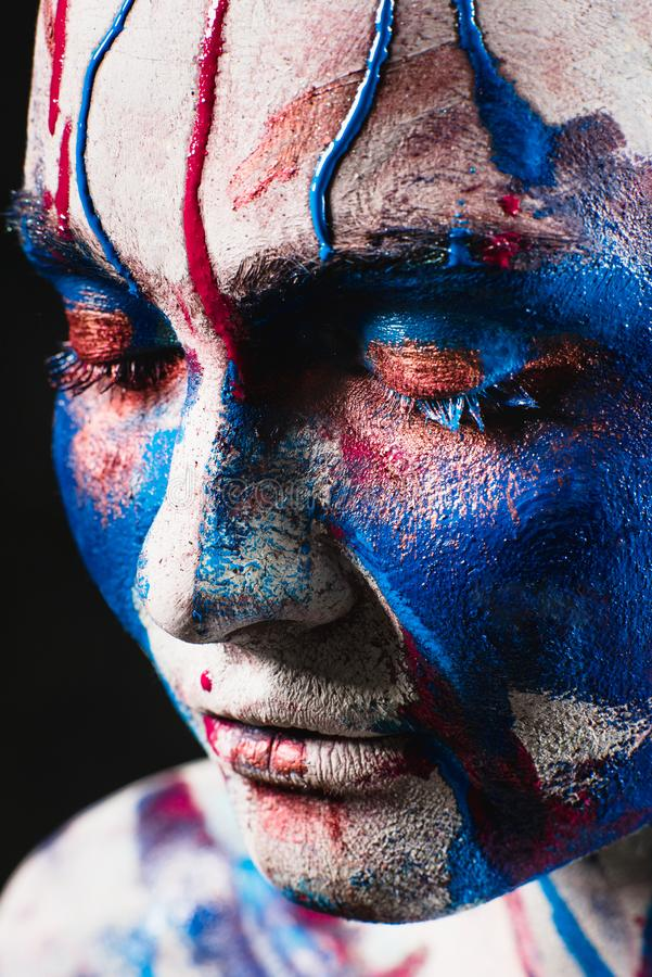 Portrait of pretty girl with creative art makeup stock images