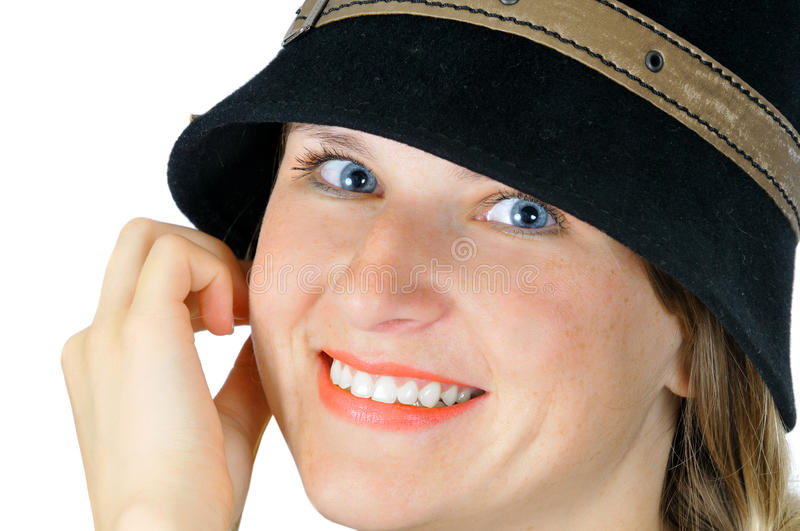 Portrait of pretty girl in hat royalty free stock photography