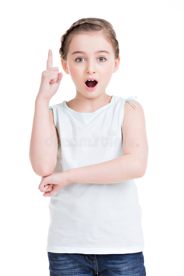 Portrait of a pretty girl pointed finger up. Portrait of a pretty girl pointed finger up - isolated on white stock images