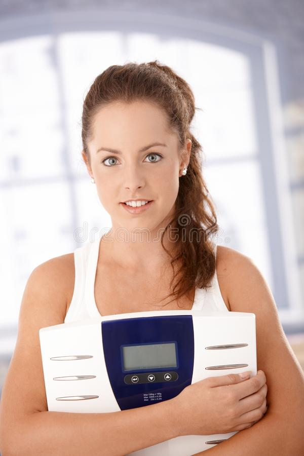 Download Portrait Of Pretty Girl With Scale Dieting Stock Image - Image: 17097791