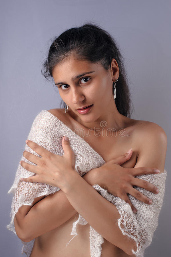 Download Portrait Of A Pretty Girl With A White Scarf Stock Image - Image: 31254203