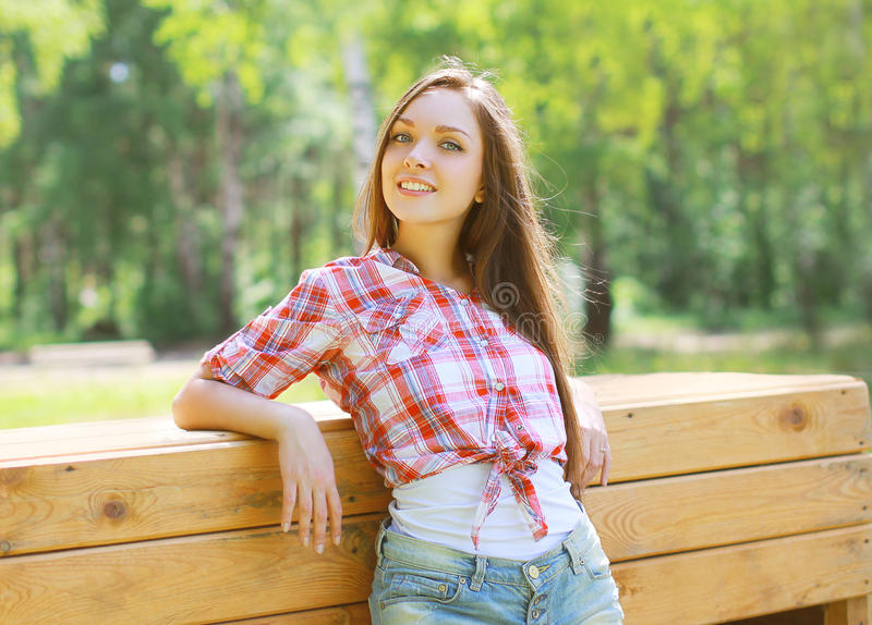Portrait pretty happy girl. In country style royalty free stock images