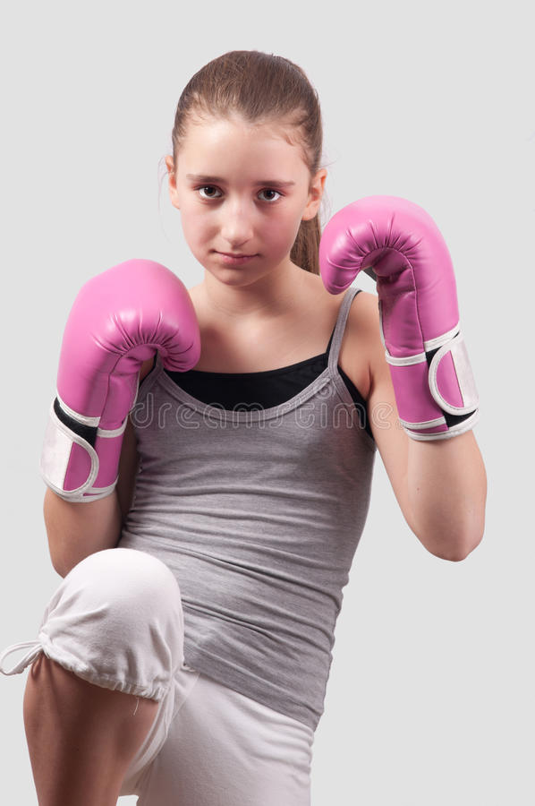 Download Portrait Of Pretty Kick Boxing Girl Stock Photo - Image of gloves, motion: 22338964