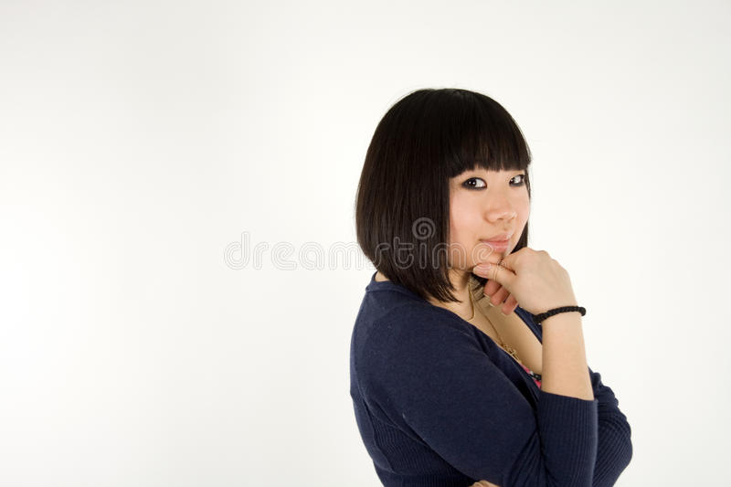 Portrait of a pretty korean girl royalty free stock photography