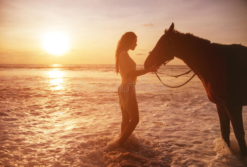 Portrait of the pretty lady with a horse stock photography