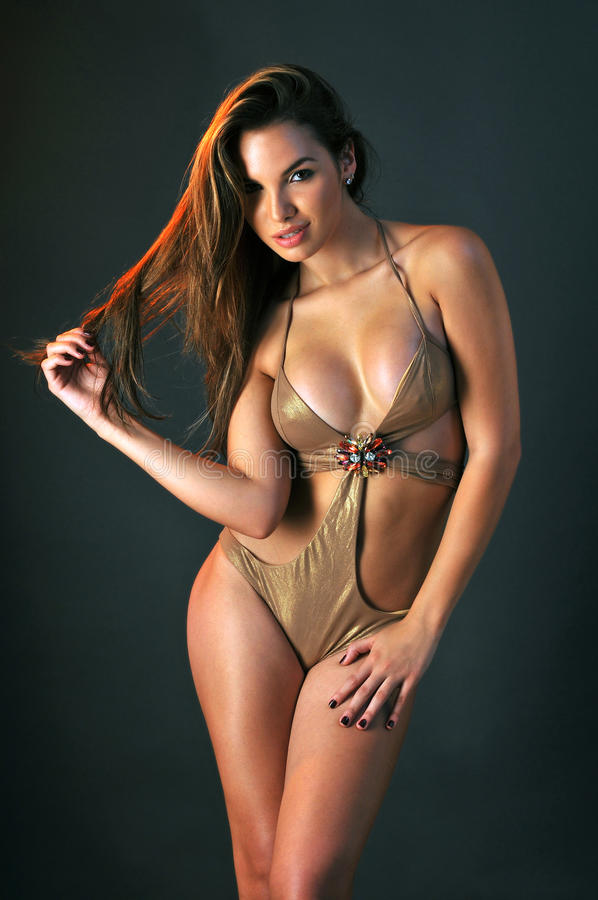 Portrait of pretty latina swimsuit fashion model stock image
