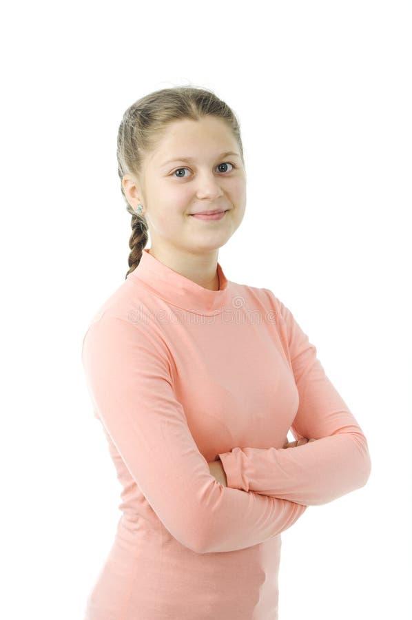 Portrait of pretty little girl on white stock image