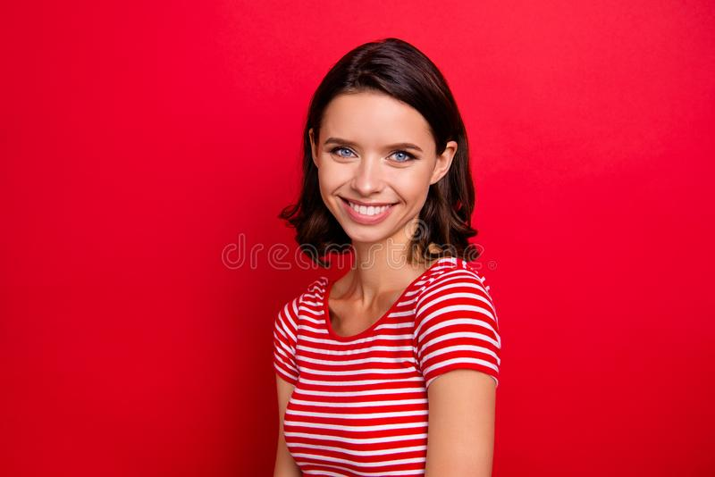 Portrait of pretty nice cute candid lady youngster millennial good-looking dream feel glad relax rest free time weekend royalty free stock images