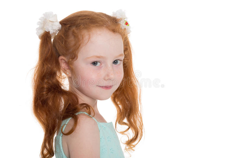 Portrait of pretty red haired girl stock images