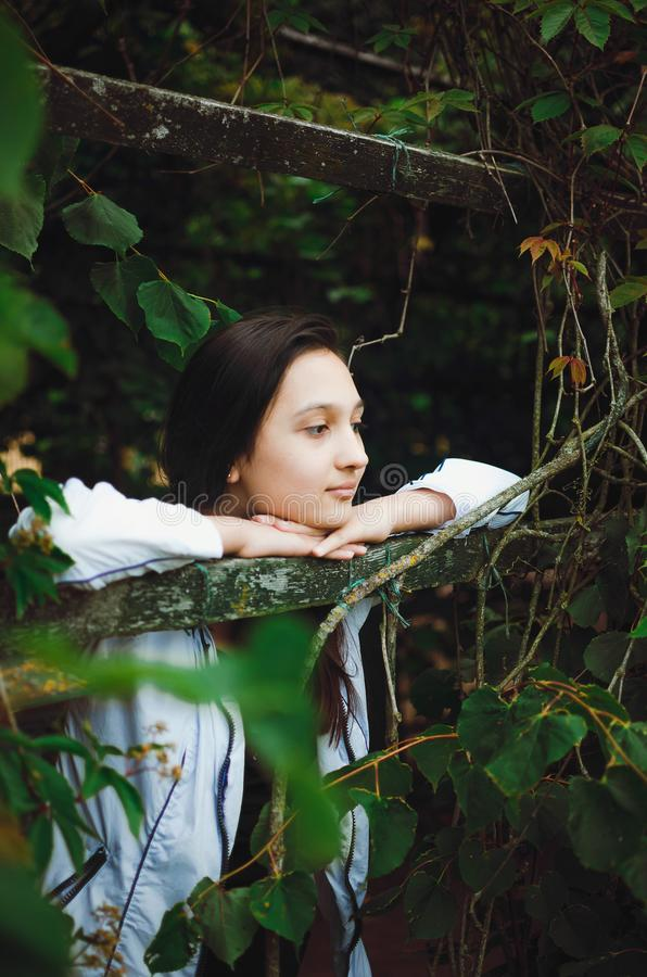 Portrait of a pretty teen girl on a background of nature. Vertical photo royalty free stock photography