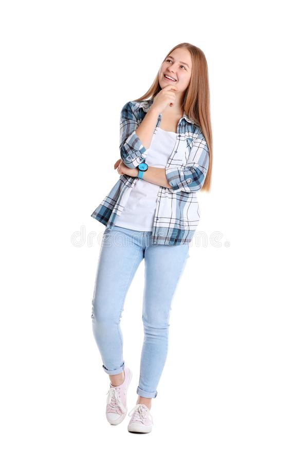 Portrait of pretty teenage girl on white royalty free stock photography
