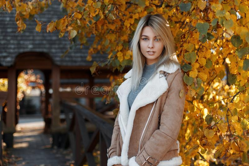 Portrait of a pretty young and beautiful blonde with blue eyes. Beautiful young woman wearing a beige stylish jacket with fur. stock image