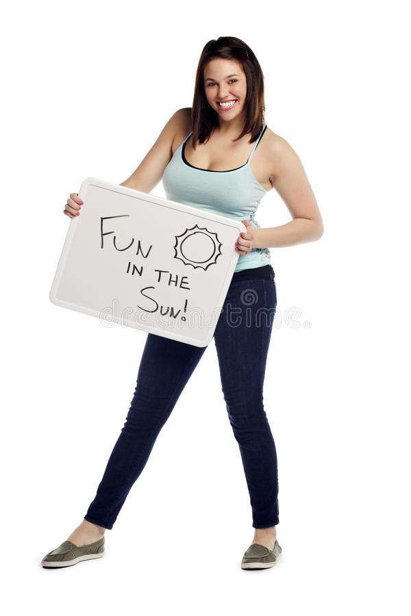 Download Portrait Of Pretty Young Female Holding Sign Stock Image - Image: 23001617