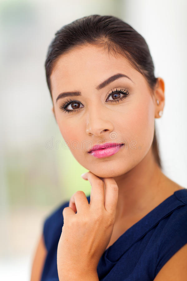 Pretty young lady. Portrait of pretty young lady close up royalty free stock photo