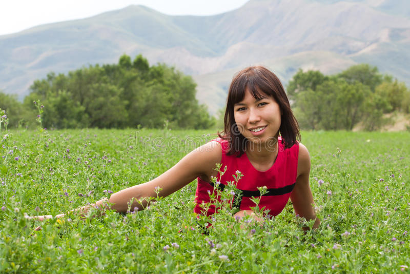 Download Portrait Of Pretty Young Lady On A Meadow Stock Photo - Image: 23894690