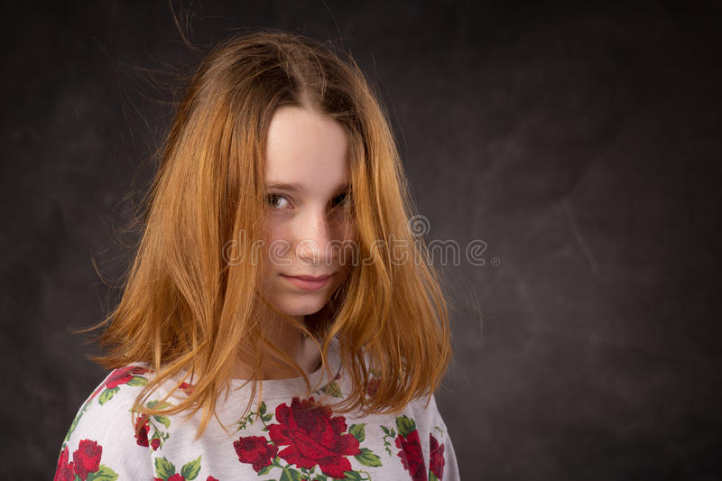 Portrait of a pretty young shaggy redhead girl royalty free stock images