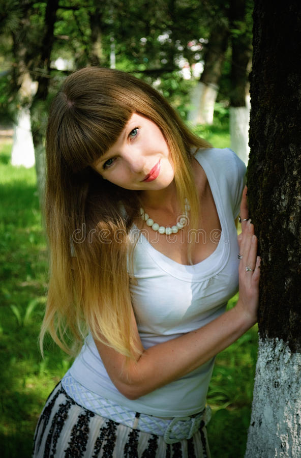 Portrait of pretty young woman stock image