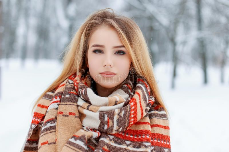Portrait of a pretty young woman with brown eyes with beautiful makeup with long blond hair in a woolen vintage warm scarf royalty free stock photography