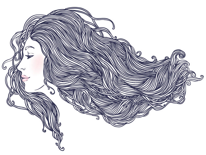 Portrait of pretty young woman in profile view stock illustration