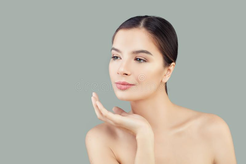 Portrait of pretty young woman spa model with healthy clear skin stock photos