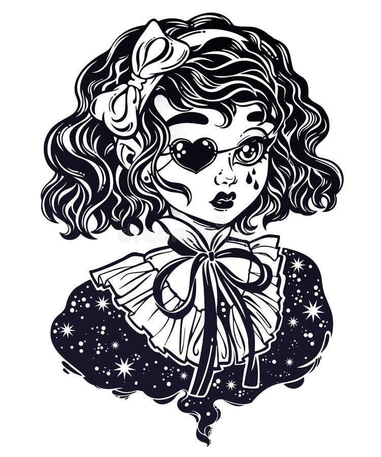 Portrait principal de fille victorienne gothique avec les cheveux bouclés de correction d'oeil illustration libre de droits