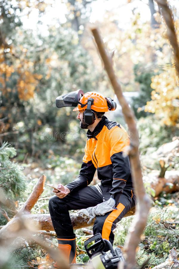 Professional lumberman resting in the forest stock images