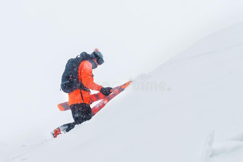 Portrait of a professional skier climbing a slope with skies in a snowstorm. The concept of riding in bad weather royalty free stock photo