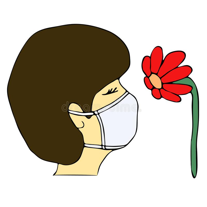 Portrait in profile of allergy woman in medical mask suffering from allergies.Young girl snif red flower. Seasonal allergic stock illustration