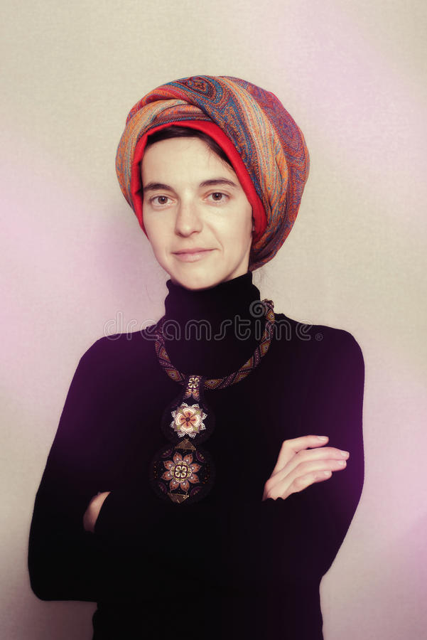 Portrait of proud ethnic woman stock images