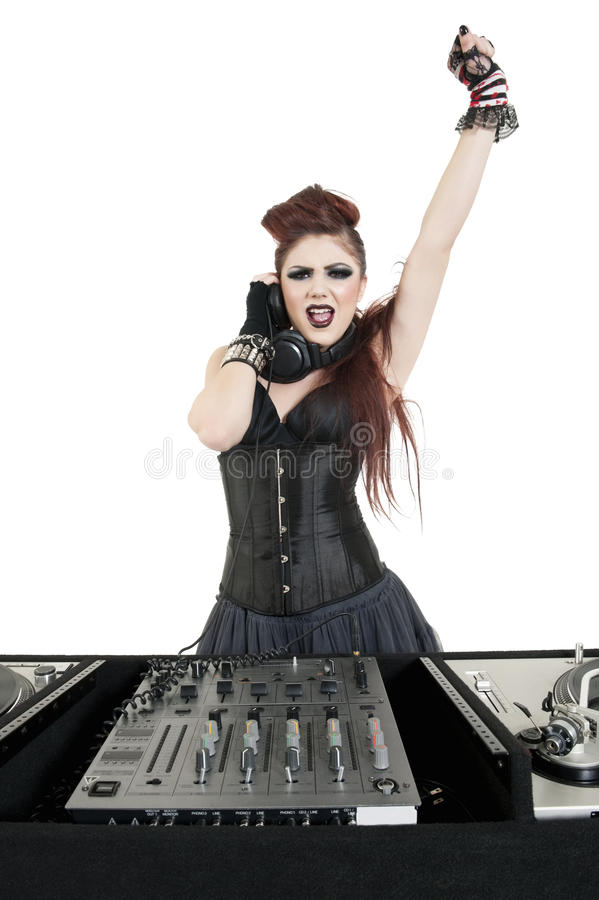 Download Portrait Of Punk DJ With Arm Raised Over White Background Stock Image - Image of camera, model: 29674375