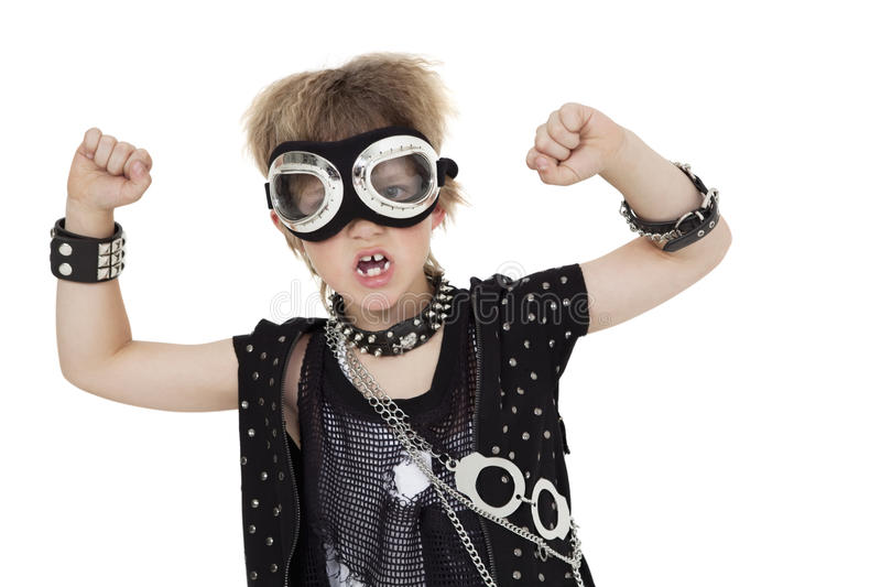 Portrait Of Punk Kid Wearing Pilot Goggles With Raised Fist Over White Background Royalty Free Stock Photos