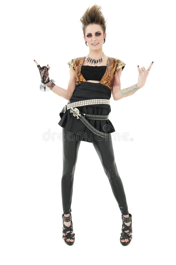Portrait Of Punk Woman Gesturing Rock Sign Over White Background Stock Image