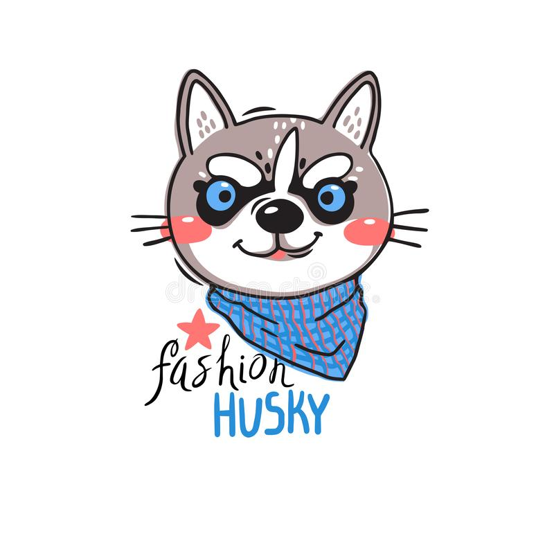 Portrait puppy in a bandana around his neck. Dog with the inscription fashion husky. Vector illustration in cartoon vector illustration