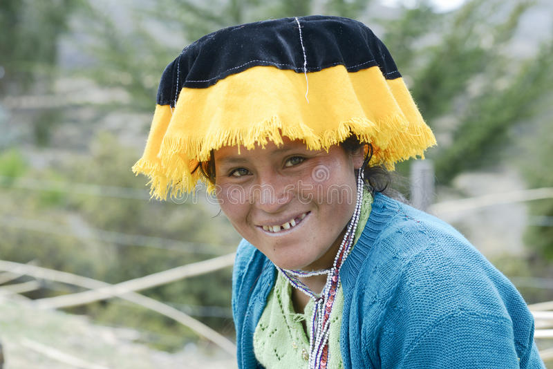 Portrait of a Quechua Indian woman from the Paru Paru Community royalty free stock images