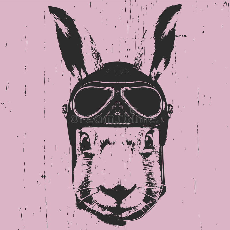 Portrait of Rabbit with Helmet. vector illustration