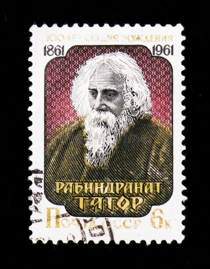 Portrait of Rabindranath Tagore 1861-1941, Indian poet, 100th birth anniversary, circa 1961. MOSCOW, RUSSIA - JUNE 26, 2017: A stamp printed in USSR Russia shows stock photography