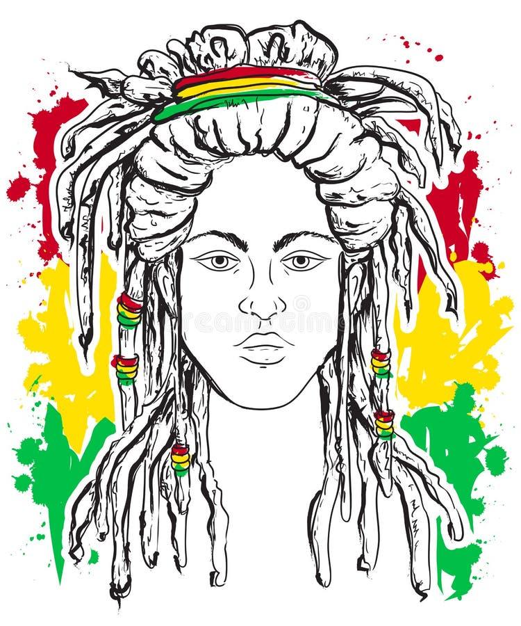 Portrait of rastaman. Jamaica theme. Reggae concept design. Tattoo art. Hand drawn grunge style art. Retro banner, card, t-shirt, print, poster. Vintage royalty free illustration