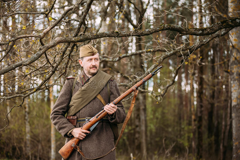 Portrait of Re-enactor Dressed As Russian Soviet Infantry Soldie. Pribor, Belarus - April 23, 2016: Close up portrait of Re-enactor Dressed As Russian Soviet royalty free stock photography