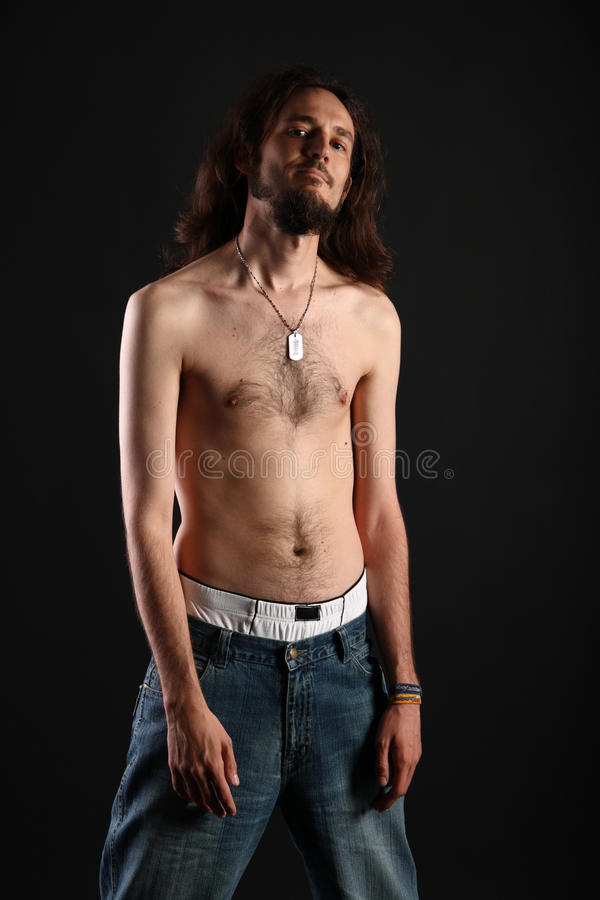 Download Portrait Of Rebel With Long Hair And Topless Slim Stock Photos - Image: 10177683