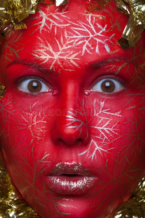 Portrait of a red ball. Creative make-up portrait of a red ball stock photo