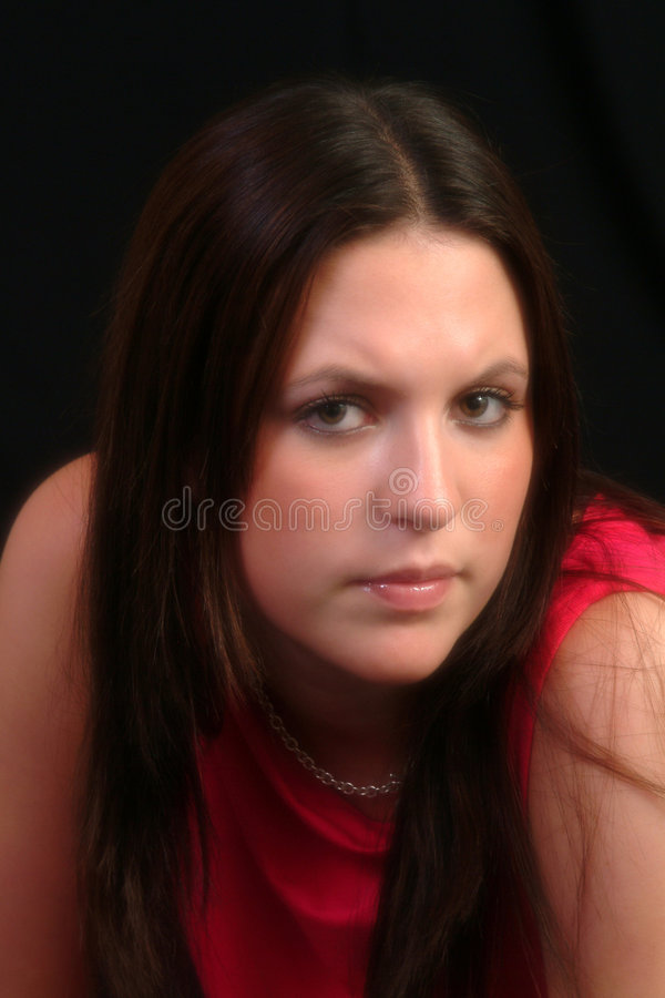 Portrait In Red Dress royalty free stock images