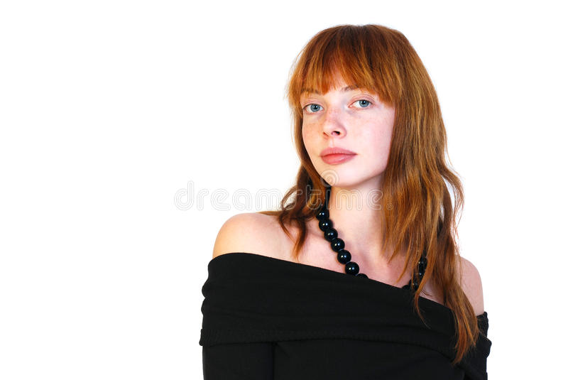 Portrait of red-haired girl with freckles. royalty free stock photos