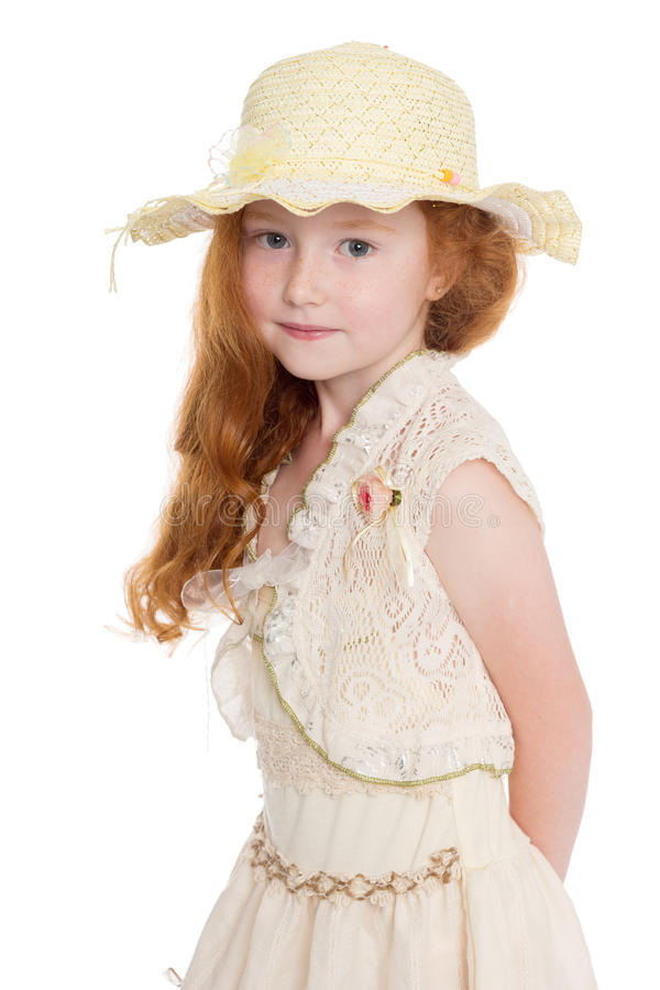 Portrait of red haired little girl stock photo