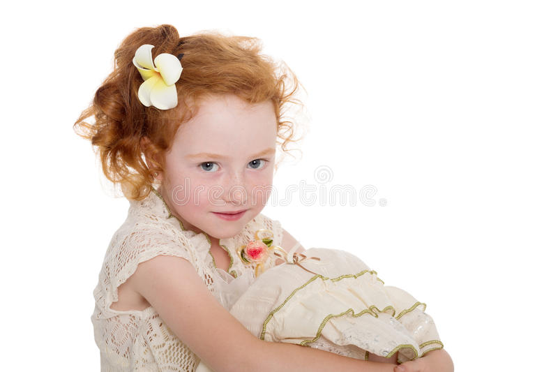Portrait of red haired little girl stock photos