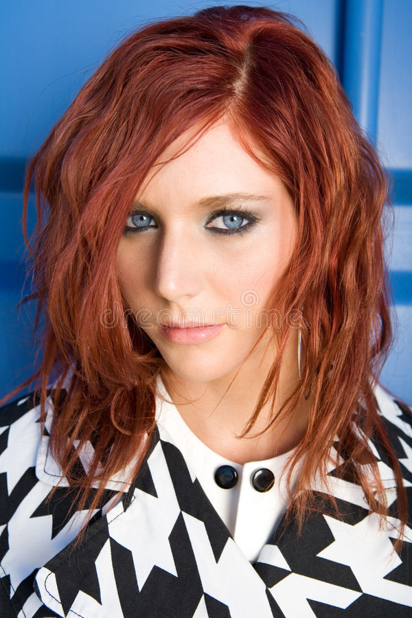 Portrait of red head woman stock photos