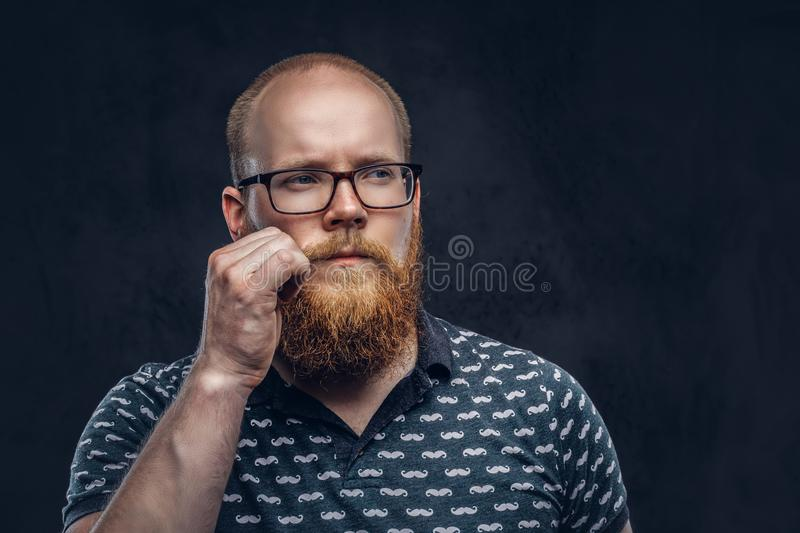 Portrait of a redhead bearded male dressed in a t-shirt posing with a hand on his mustache. Isolated on a dark textured. Portrait of a pensive redhead bearded royalty free stock images