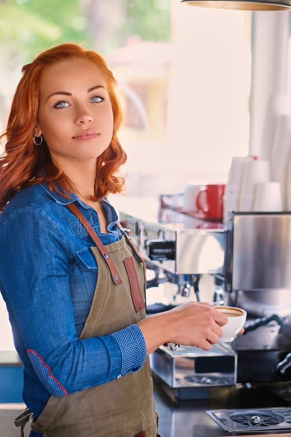 Portrait of redhead female barista drinks coffee. stock images