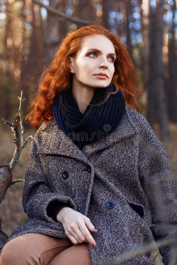Portrait of redhead girl stock images