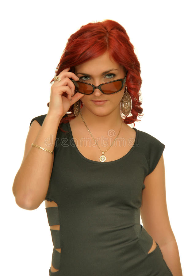Portrait redhead glasses. Cute redhead beautiful woman wearing glasses stock image